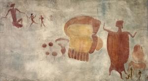 Begräbnisszene mit Mumie im Ochsenfell Mumie im Ochsenfell Simbabwe, Rusape Distrikt, Fishervall-Springsfarm 8.000-2.000 v.Chr. Aquarell von Joachim Lutz und Leo Frobenius, 1929 © Frobenius-Institut